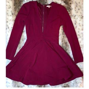 (Luxxel) Long sleeve thick deep V skater dress